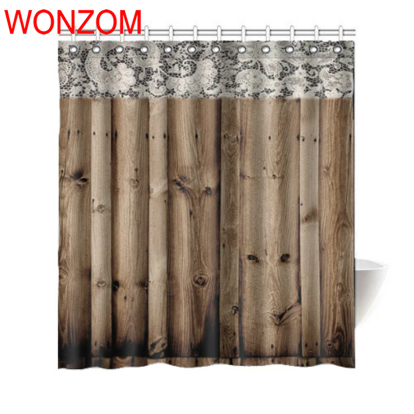 WONZOM 3D Polyester Fabric Lace Wood Door Shower Curtains with 12 Hooks For Bathroom Decor Modern Bath Waterproof Curtain Gift