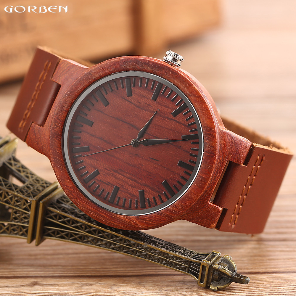 Подробнее о Gorben Watch Natural Red Wood Watch Bamboo Wooden Quartz Wrist Watches Cowhide Leather Strap Casual Men Clock Gifts With Box 2016 hot sell men dress watch uwood men s wooden wristwatch quartz wood watch men natural wood watches for men women best gifts