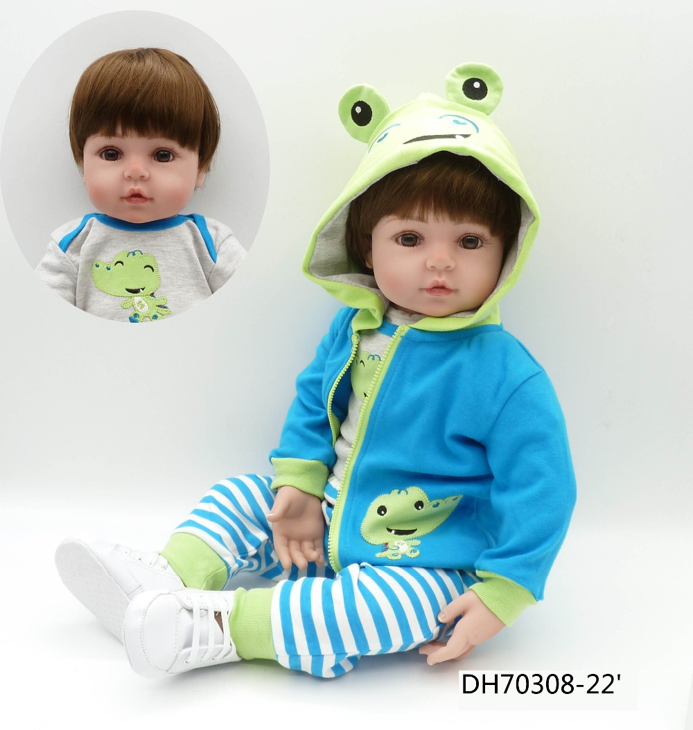 """22 """"55 cm pasgeboren baby boy nep reborn bonecas siliconen poppen voor kinderen verjaardagscadeau brinquedo menino-in Poppen van Speelgoed & Hobbies op  Groep 1"""