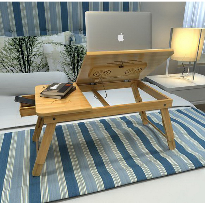 250621/Laptop table with a small desk can be folded lazy learning to write a small desk/Curved legs/Can adjust height