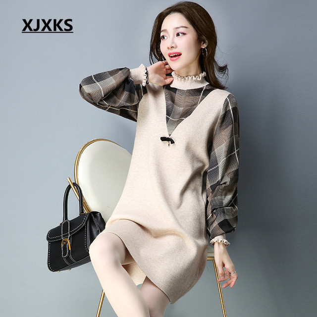30a881e34b XJXKS Women Turtleneck Sweater Dresses Patchwork Sleeve Blends Knitted  Comfortable Ladies Pullover Long Sweaters