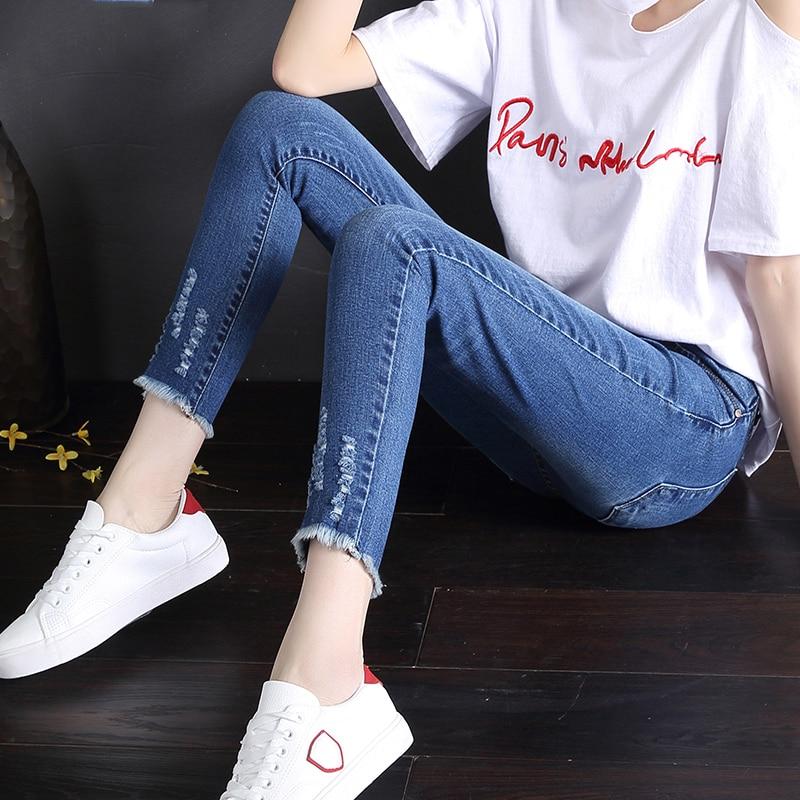 2019 nouveau femmes détruit déchiré perlés denim pantalon brodé fusées jeans pantalon denim long trou