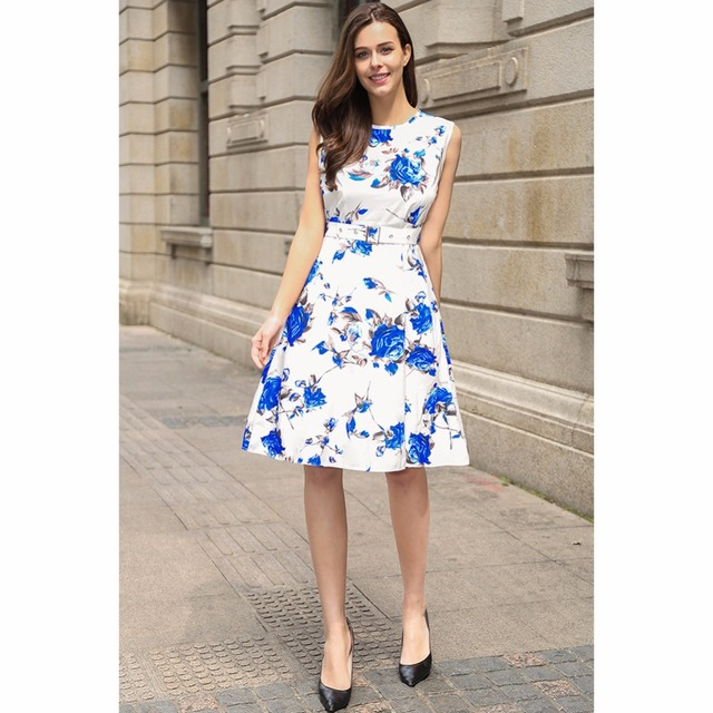 Women Summer Vintage Fashion Dress New Style Rockabilly 60s 70s Floral Printed Sleeveless Back Zipper Kee