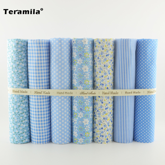 Different Patterns 7pcs Blue Color Cotton Fabric Tildas Clothing Materials for Beginner's Practice Sewing Dolls Patchwork Crafts
