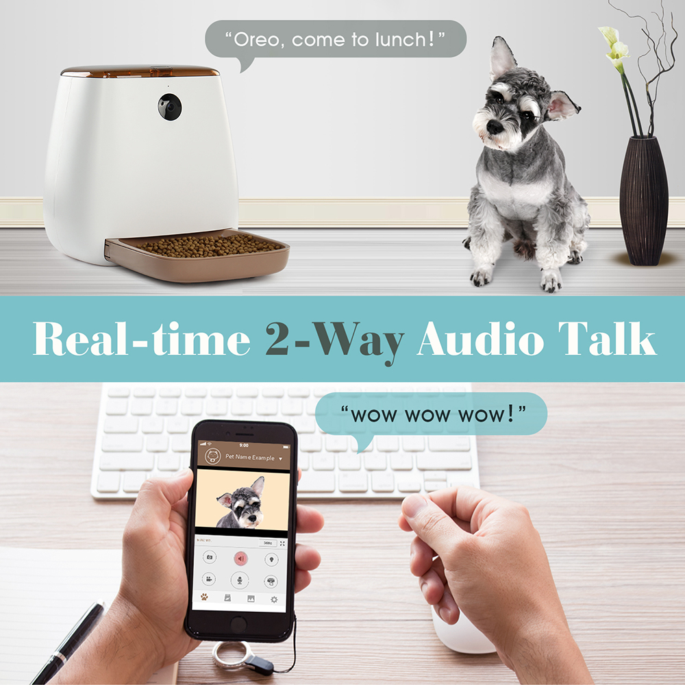 Automatic Pet Feeder Food Dispenser for Cats and Dogs Wi-Fi Enabled App for iPhone and Android 1080p Camera Pet feeder GrommingAutomatic Pet Feeder Food Dispenser for Cats and Dogs Wi-Fi Enabled App for iPhone and Android 1080p Camera Pet feeder Gromming