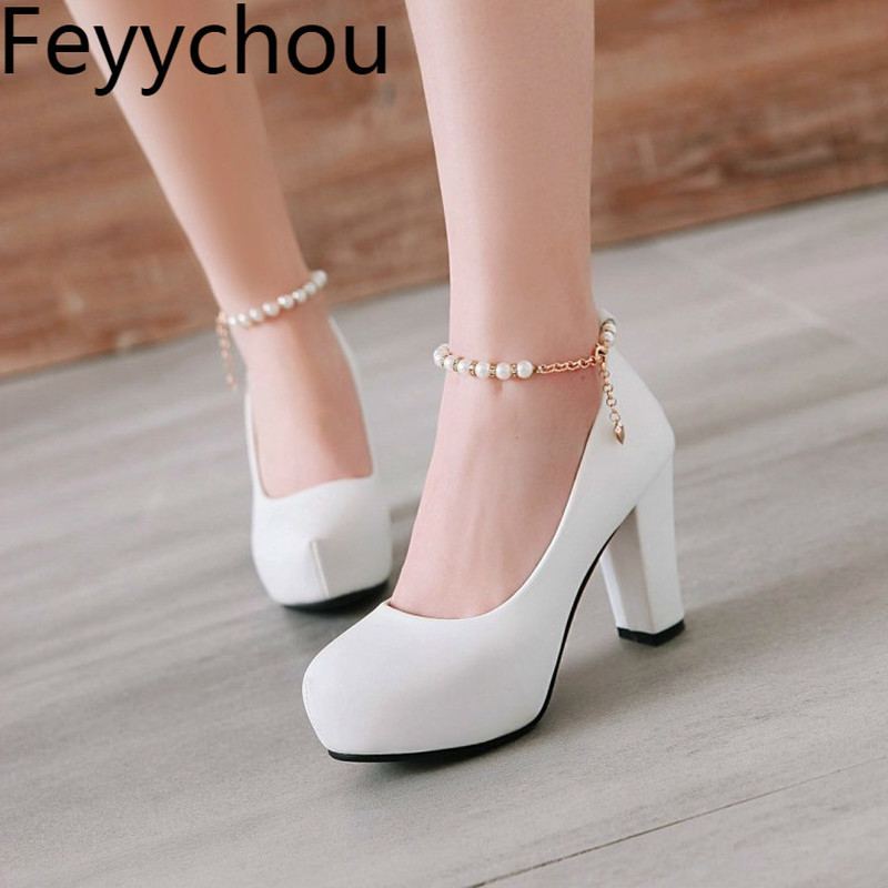 Women's Pumps Shoes Super High Heel Pu Pearl Buckle Platform 2018 Spring Autumn Sexy New Fashion Casual Wedding Party White Pink