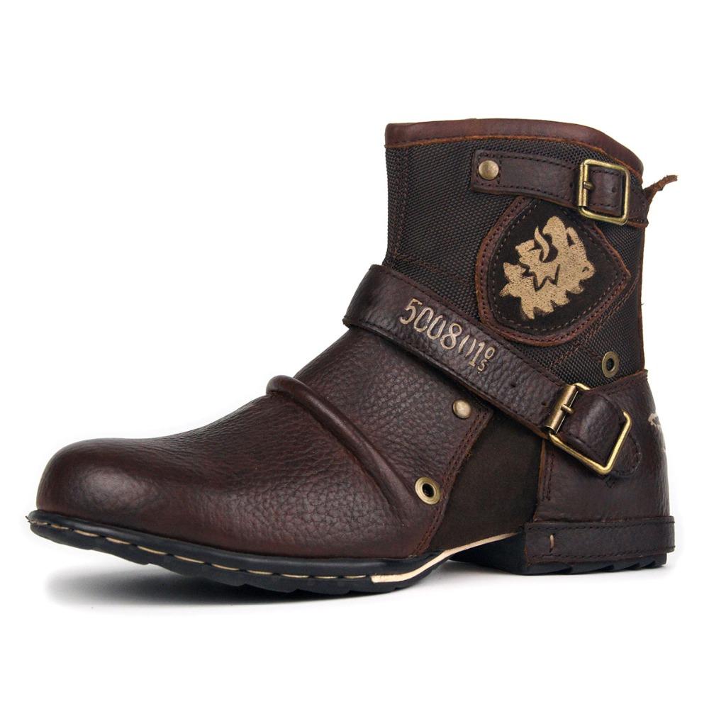 c9fd8af0489 US $85.2 29% OFF|OTTO ZONE New Fashion Motorcycle Boots Men Genuine Leather  Men's Ankle Boots High Quality Breathable Work Cowboy Boots Botas on ...