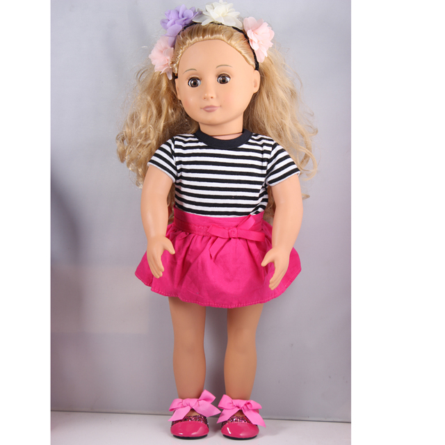 1 flower hand bands ,1 T-shirt  ,1 red skirts ,1 shoes  American Girl Doll Clothes Best Chrismas Gift AG704