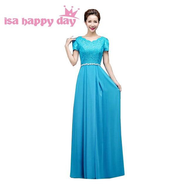 Robes de soirée dames longues dernières robes de soirée conceptions longueur de plancher robe en mousseline de soie 2019 nouveauté robes bleues robes H3118