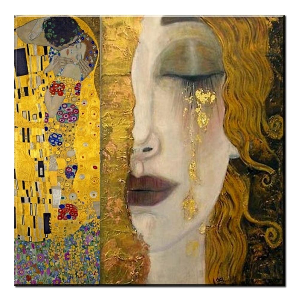 Xdr185 larmes d'or Gustav Klimt peintures à l'huile de Reproduction sur toile Imprimée Peinture À L'huile belle femme illustration