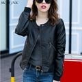 Plus Size Black PU <font><b>Leather</b></font> Jacket women Spring autumn fashion bomber short fur coat female Jaqueta Feminina PJ46