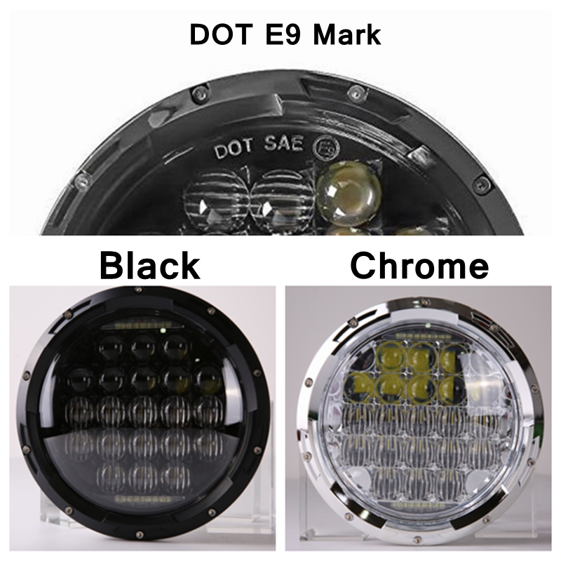 7 Round Led Headlight DRL Hi/Lo Beam H4 Fit Jeep Wrangler Willys Wheeler Rubicon Hummer Land Rover Defender
