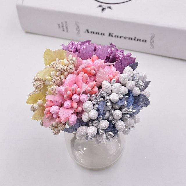 10pcs DIY Scrapbooking Decorative Wreath Fake Flowers Bouquet Artificial Bud Stamen Berry Bacca Flower For Wedding Decoration