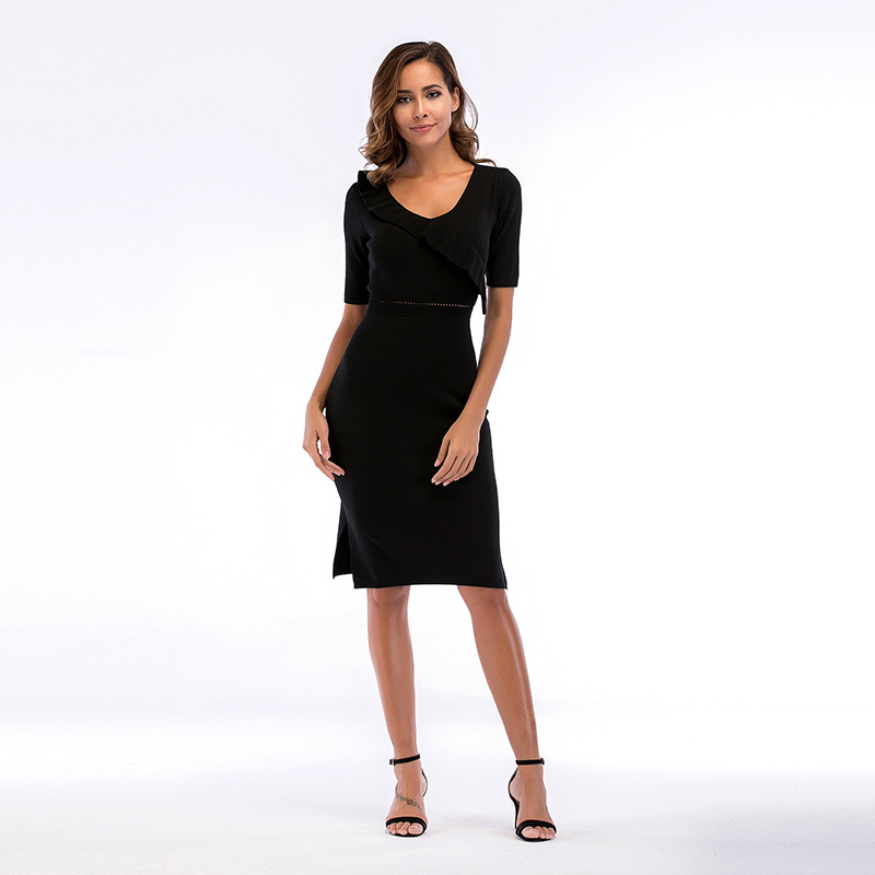 WHZHM летнее вечерние черное вечернее Обтягивающее Платье женское с круглым вырезом Femme одежда с высокой талией с коротким рукавом сексуальное пляжное Открытое платье 5705 купить на AliExpress