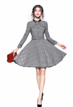 Flying ROC women casual plaid dress long sleeve summer autumn female fashion design femme  dresses
