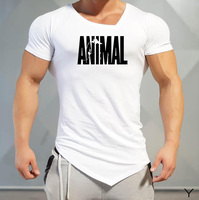 New Fashion Brand Trend Print Slim Fit Short Sleeve T Shirt Men Tee V Neck Casual