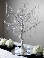 EW Novelty Christmas Simulation Fake Tree White Wedding Road Led Decoration Items With Crystal Beads