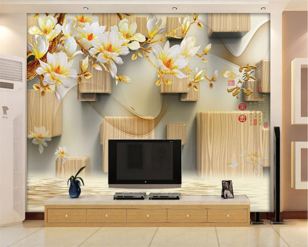 beibehang Custom Home Background Decorative 3D Wallpaper Wooden Carvings and Sculpture M ...