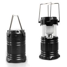 LED Solar Portable Camping Light Rechargeable Flashlight With Flash Effect Waterproof Outdoor