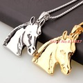 "2.08""*1.97"" 43g Top Grade Fashion 316L Stainless Steel Silver Gold Horse Pendant Biker Chain Mens Womens Necklace Jewelry 23.6"""