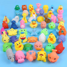 13Pcs/Lot Mixed Baby Bath Toys Rubber Duck Water Toys In The Bath Children Beach Toy Duck Soft Floating Duck Squeeze Sound Ducky(China)