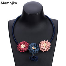 Mamojko Bohemian Original Three Cloth Flowers Pendant Rope Necklaces for Women Fashion Ethnic Simple Collar Jewelry(China)