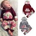 2016 terno Menina Outono Conjuntos de Roupas Meninas Flor Bebê Recém-nascido Roupas Do hoodie Bonito Do Bebê Roupas Infantis Meninas