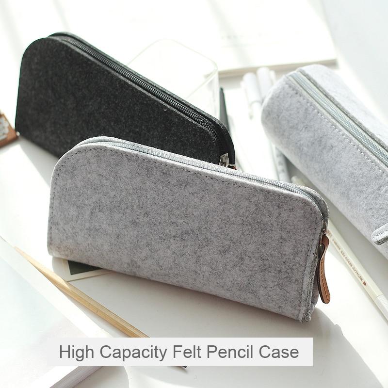 Korean Minimalist Felt Pencil Bag Student Fabric Large Capacity Pencil Case Pen Box School Office Stationery Supplies цена