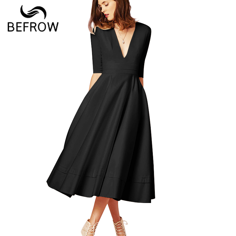 BEFORW High Quality Sexy High Waist Dress 2018 Summer Five Sleeves Deep V Female Dress Elegant party Vintage Long Dresses women