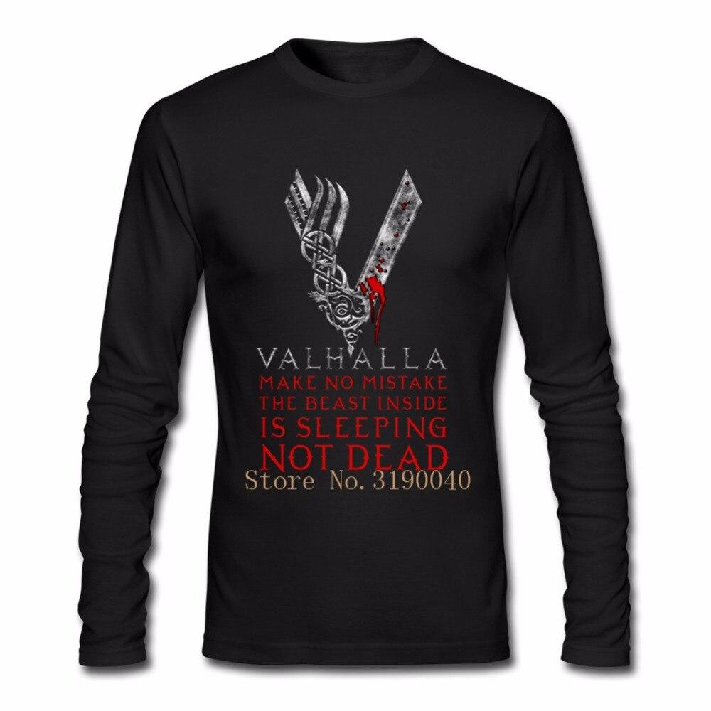 Пользовательские с длинным рукавом Boyfriend Валгаллу Викинг рубашка Для мужчин мужской моды большой Размеры Семья под Викинги Для мужчин S фут...