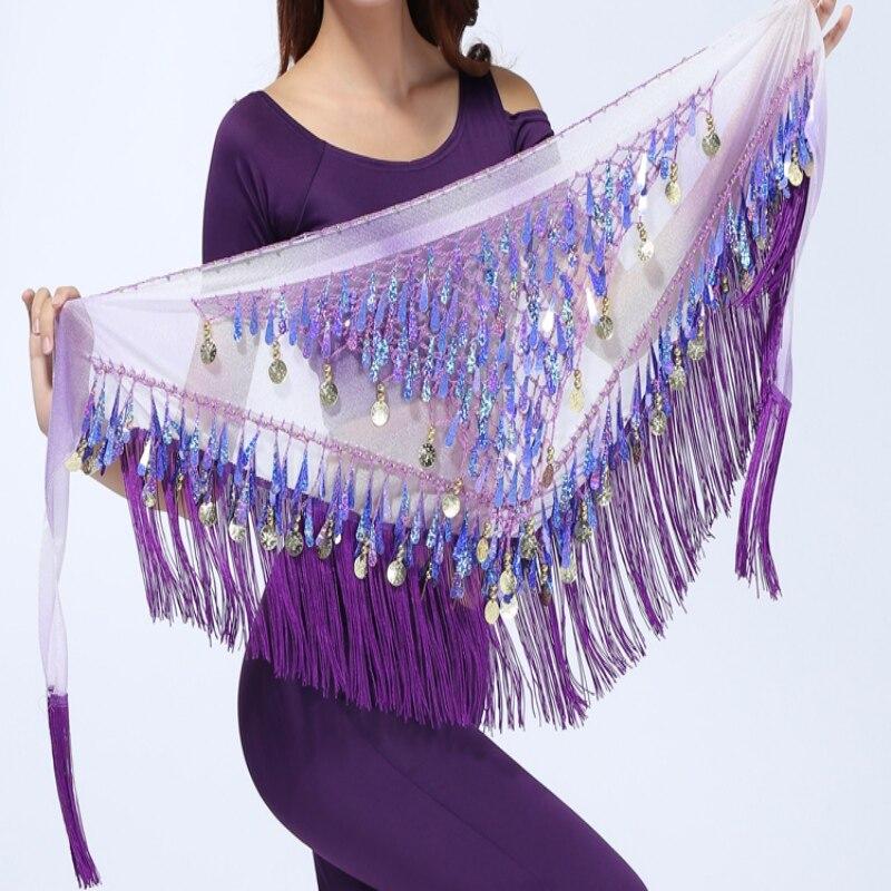 Women Dancer Scarf Wrap Waist Belt Bling Golden Coins Sequins Tassels Belly Dance Hip Skirt