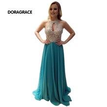 Glamorous Halter Sleeveless Open Back Floor-Length Chiffon Evening Dresses Beaded Prom Gowns DGE016
