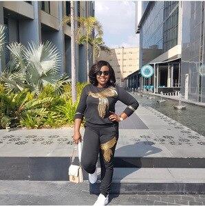Image 4 - Afrika setleri kadınlar için yeni boncuk payetli afrika elastik Bazin dökümlü pantolon Rock tarzı Dashiki kollu ünlü Lady için Suit