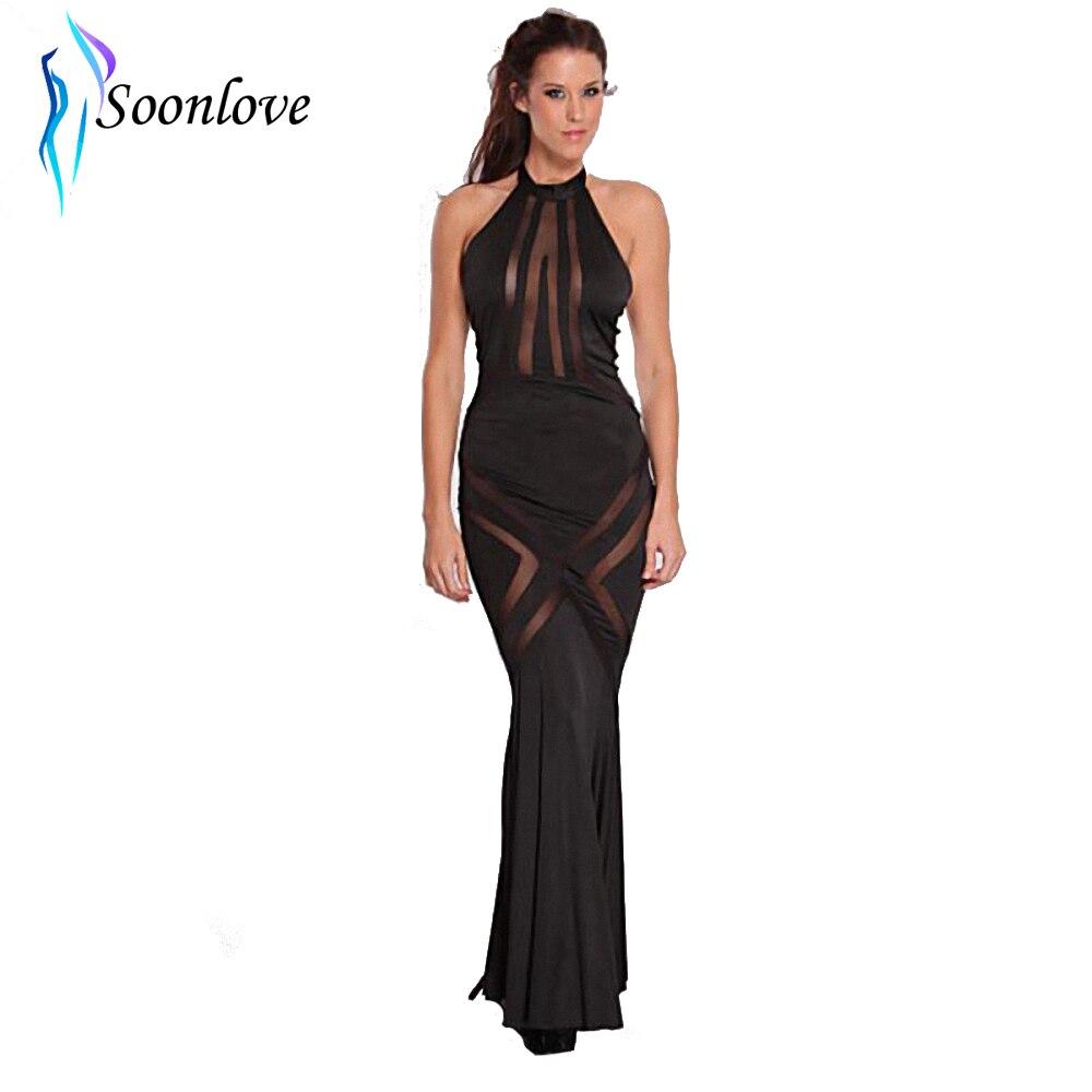 ộ_ộ ༽New Vintage Female Black Mesh Cut Out Long Dress Sleeveless ...