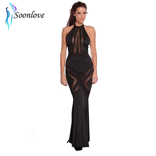 fc12e54d652 New Vintage Female Black Mesh Cut Out Long Dress Sleeveless Round Neck  Fashion Ladies Gowns Charming Sexy Mature Cloth L5073-1