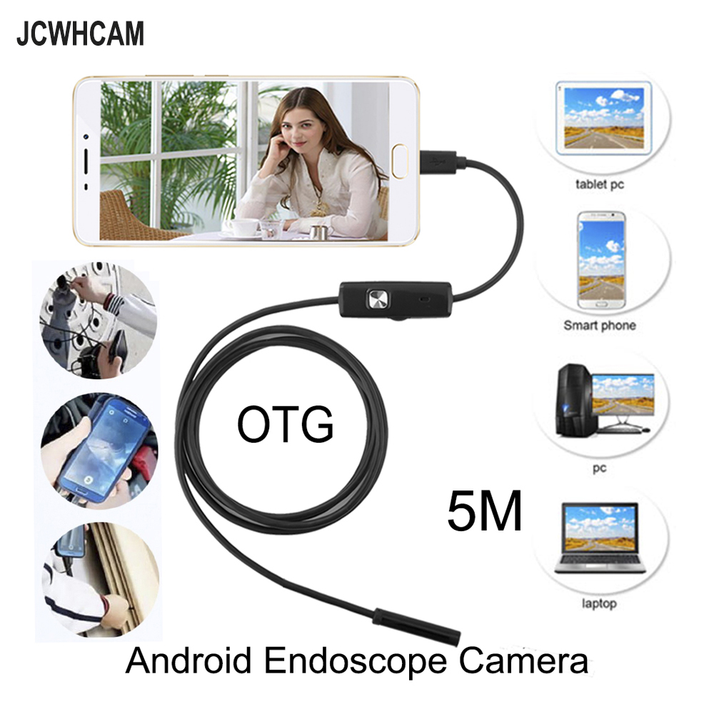 JCWHCAM 5.5mm Len 5M Android USB Endoscope Camera Flexible Snake USB Pipe Inspection Android Phone OTG USB Borescope Camera 5m 3 5m 2m 1m micro usb android endoscope camera 5 5mm len snake pipe inspection camera waterproof otg android usb endoscope