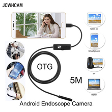 цены JCWHCAM 5.5mm Len 5M Android USB Endoscope Camera Flexible Snake USB Pipe Inspection Android Phone OTG USB Borescope Camera