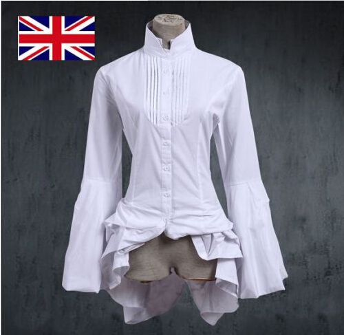 White Gothic Lolita Blouse Wedding Shirt Ruffle Bustle Collar Cosplay Costume