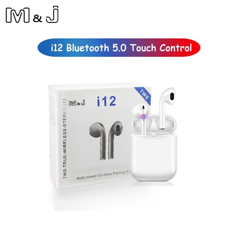 M & J i12 tws de control táctil 1:1 inalámbrico Bluetooth 5,0 auriculares 3D aire super bass auriculares pk i10 tws i20 pod para iPhone xiaomi