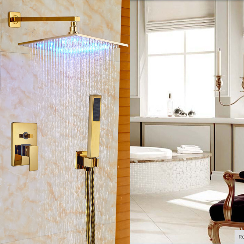Luxury Brass Gold Finish Shower Set Bath 16 LED light Shower Faucet W/Handheld 2-Ways Mixer Wall Mount