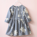 2017 новая мода осень платье девушки вскользь детская одежда сетки платье для детей вышитые одежды