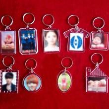 Hot 1PC Heart Unisex  Transparent Insert Photo Round Keychain DIY Picture Frame Acrylic Women Men Blank Keyring