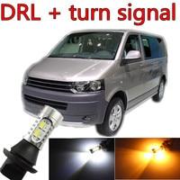 Tcart 2 cái Car LED Daytime Running Nhẹ Front Bật Tín Hiệu Tất Cả Các trong Một Trắng Đèn Miễn Phí Vận vận chuyển Cho VW T5 2003 ~ 2015 phụ kiện
