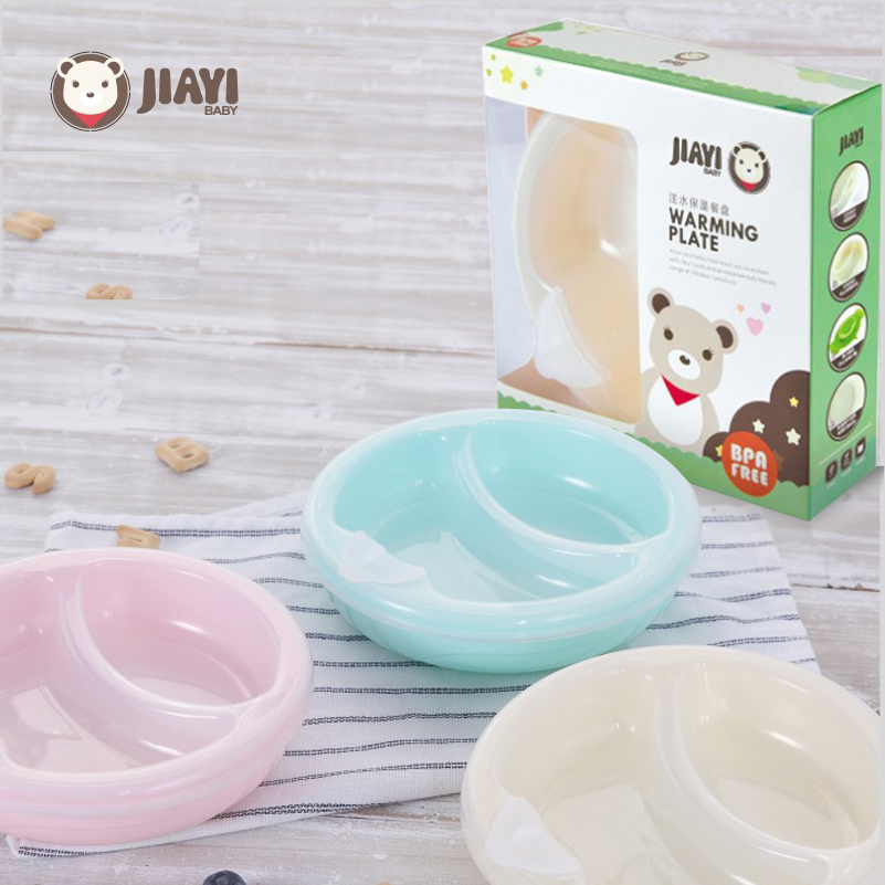 Jiayibaby Non-slip Baby Warming Plate Spill Proof Suction Bowl Keep Food Warm Container Tableware Children Sucker Feeding Dish