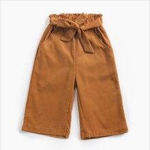 Детская одежда вельветовые укороченные штаны для девочек детские повседневные штаны Новые широкие штаны для детей среднего и маленького возраста