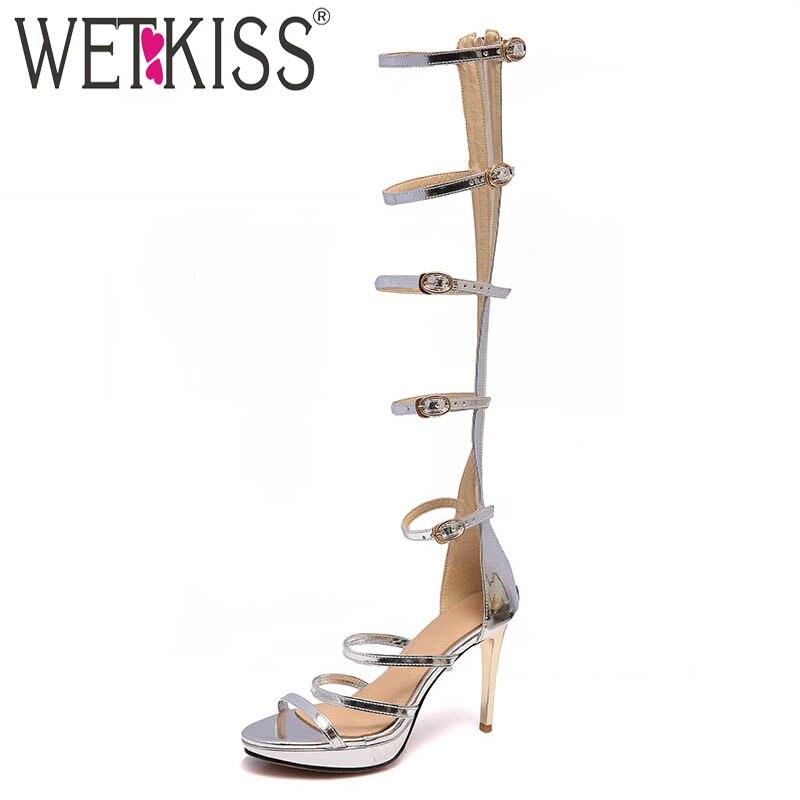 Wetkiss De Zapatos Tacones Sandalias Calzado Oro Señoras Roma Gladiador Delgados Mujer Hebilla Verano 2018 Partido Punta Oro Abierta Plata plata Sexy rqAtBxrw