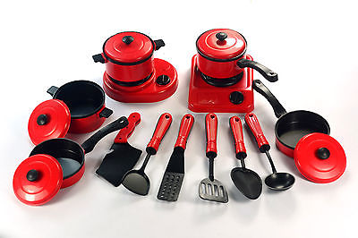 Red Classic Kitchen Toys 13pcs Kid Children Red Kitchen Utensil Accessories Cooking Play Toy Cookware Set