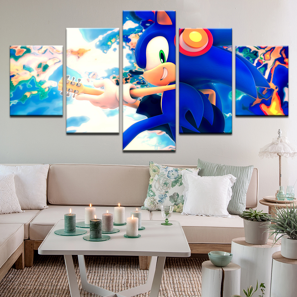 5 Pcs Good Sonic The Hedgehog Cartoon Poster Canvas Artwork Residence Decor Fabric Cloth Wall Poster Print Silk Cloth Print Portray & Calligraphy, Low-cost Portray & Calligraphy, 5 Pcs...
