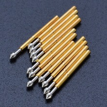 100 قطعة P75 E2 الربيع اختبار التحقيق بوجو دبوس 1.3 مللي متر رئيس مخروطي مطلية بالذهب 1.0 مللي متر كشتبان