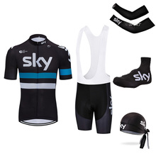 ФОТО cycling jersey sets short sleeve summer cycling clothing bike clothes 2018 pro team 2017 sky black men's cycling jersey